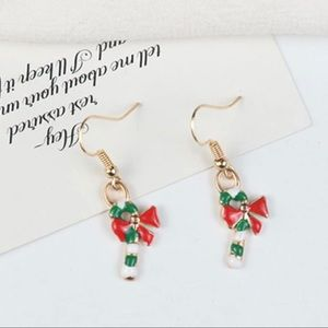 Christmas Earrings Candy Cane Red bow classic gift